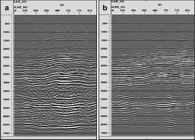 Figure 3 – Converted-wave images before (a) and after (b) layer-stripping anisotropic corrections.