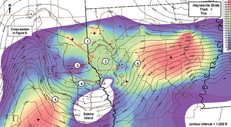 Isopach (colorfill) and depth (contours) of the Haynesville Shale. Shale Areas: 1-Texas Updip, 2-Louisiana, 3-Panola Platform, 4-Texas Downdip, 5-East Texas Salt Basin, 6-North Louisiana Salt Basin.