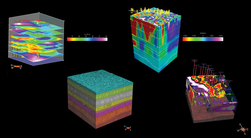 High tech in Saudi Arabia, from start to finish: A view of the general setting (grids, wells, faults), followed by the generating of 3-D volumetric meshes layers (2), followed by calculation of 3-D displacement and 3-D strain fields (3), followed by final validation of structural deformation histories and analysis of reservoir-scale strain fields.