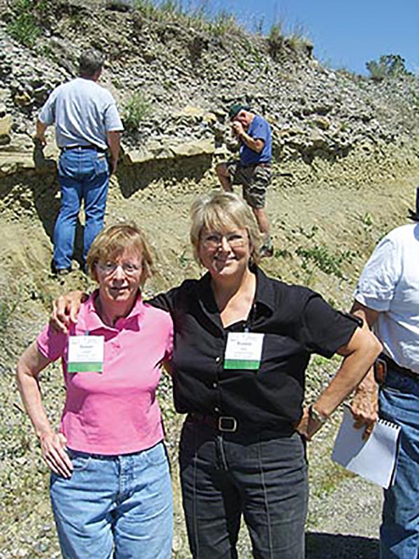 Susan Landon and Robbie Gries, studying the rocks in Montana – Susan's first post-injury trip. Photo courtesy of Robbie Gries