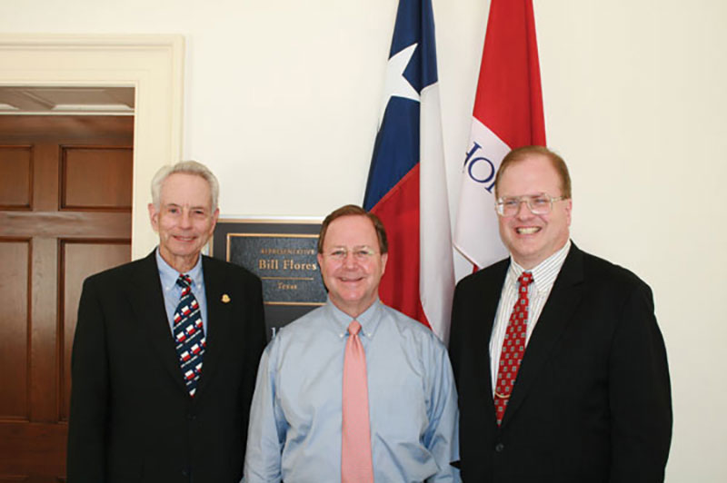 Past AAPG President Will Green (left) and AAPG member Clint Moore (right), part of the 2011 Congressional Visits Day delegation, with U.S. Rep. Bill Flores (R-Tx).