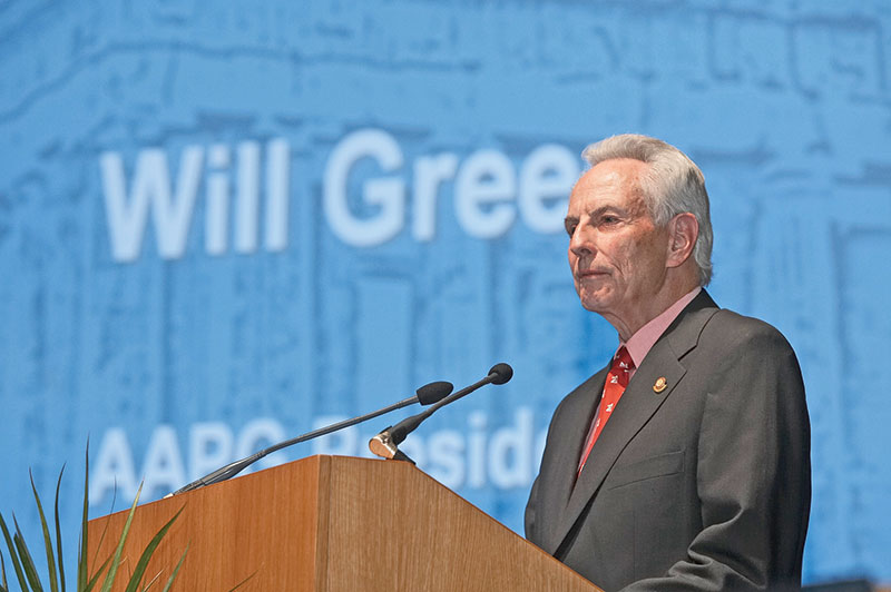 AAPG President Will Green, speaking at the opening session in Athens.
