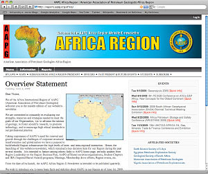 The newly designed AAPG Africa Region website, upgraded to encourage more communication, organization and participation.