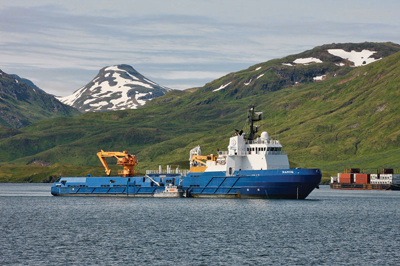 The oil spill response vessel Nanuq on call in Dutch Harbor, Alaska, providing containment, recovery and storage support for Chukchi Sea operations. Photo courtesy of Shell