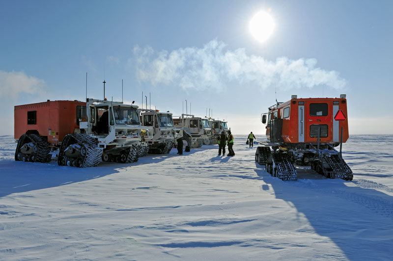 The big chill: Carefully monitored operations, specialized equipment and intensive training help seismic crews minimize impact in the harsh but delicate Arctic environment. Photo courtesy of CGGVeritas.
