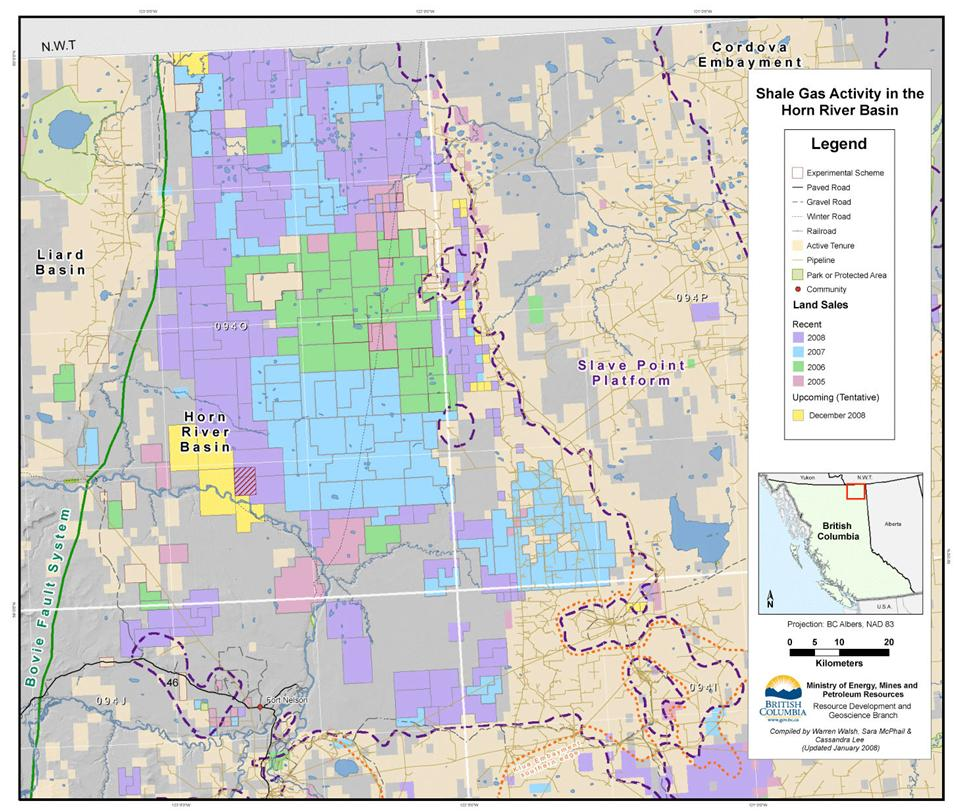 Shale Gas Activity in the Horn River Basin