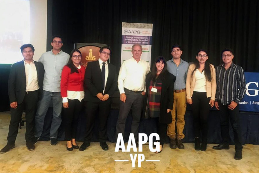 AAPG Mexico YP Chapter Member with Jim Pindell after his lecture in Mexico City on February 6.