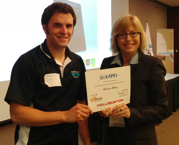 Andrew Munoz, Newfield (Deep Learning TIG co-chair) with Susan Nash, AAPG