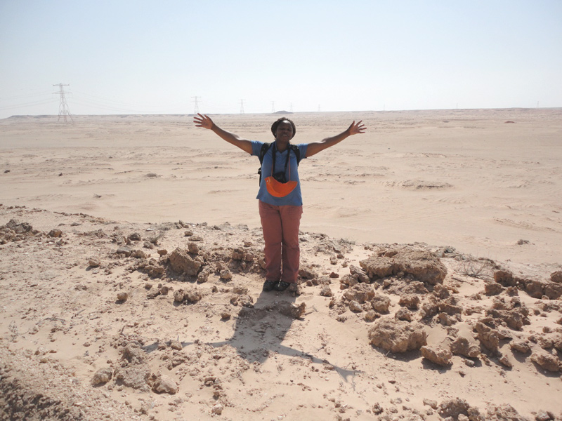 Lucky to stand at the floor of a continental sabkha (Abu Dhabi) during a particularly hot day. These continental sabkhas are difficult to cross after rains and flash floods.