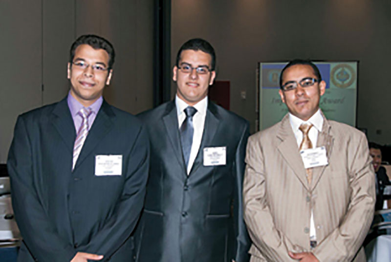 The members of the University of Cairo IBA team, from left, Ibrahim Mohamed Ismael Abdelsamad, Hussein Ali Abdulaziz Abdulhafez and Ahmed Mohsen Hassan Metwally.