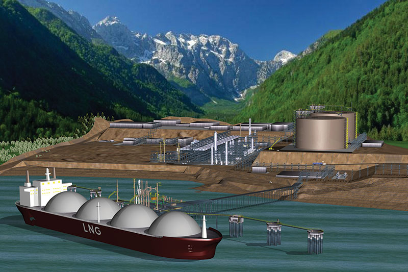 Artist's rendering of the proposed Kitimat LNG facility in British Columbia, Canada. Graphic courtesy of Apache Corp