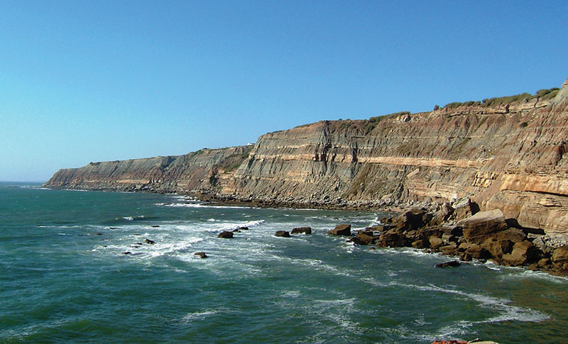 Outcrop of Tithonian fluvio-deltaic deposits, 60 kilometers north of Lisbon, Portugal – one of the best reservoir-rocks of the Lusitanian Basin and a good analog to the North Sea's Statfjord Formation.  Photos courtesy of Nuno Pimentel