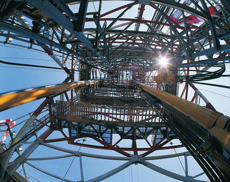 A skyward view from the well at Eni's Agulha discovery in Area 4, offshore Mozambique. Photo courtesy of Eni