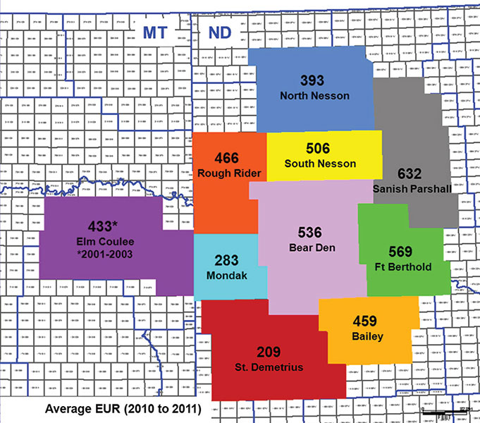 Not all areas are created equal: Subdivision of the Bakken play into 10 areas across North Dakota and Montana, based on township boundaries, proves the point: There are diverse factors and significant differences in productivity across basin. Graphics, photos courtesy of Cosima Theloy