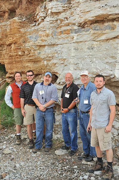 Left to right: Field trip organizer Shane Matson and trip leaders Beau Morris, Brian Wilhite, Sal Mazzullo, Darwin Boardman and Robert Turner.