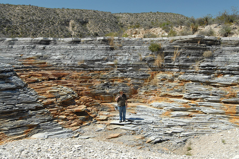 West Texas' Lozier Canyon offers an opportunity to examine Eagle Ford Shale outcrops at various scales across a sizeable area – including the chance to view the entire succession. Photo courtesy of Art Donovan