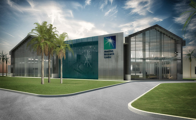 The new Houston Saudi Aramco Research Center, dedicated solely to upstream research in geology, geophysics, production, drilling, computational modeling and reservoir engineering.