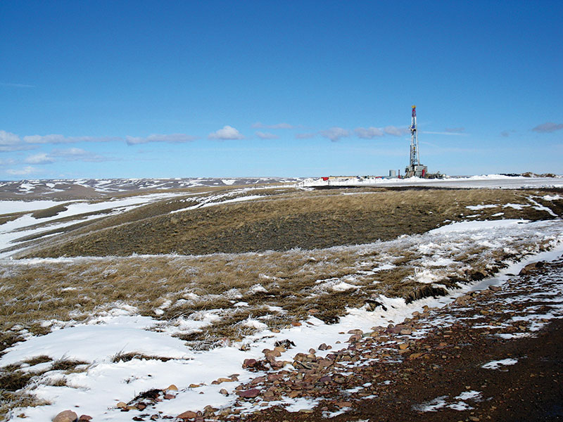 The Pioneer 41 rig at Newfield's Buffalo Jump 1-28H location in Glacier County, Montana – an area that AAPG Explorer of the Year Doug Strickland saw as having a huge potential.