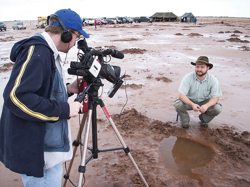 Getting down to business: Award-winning filmmakers Todd Kent and Devin Dennie, filming a segment that will help showcase geology to the general population.