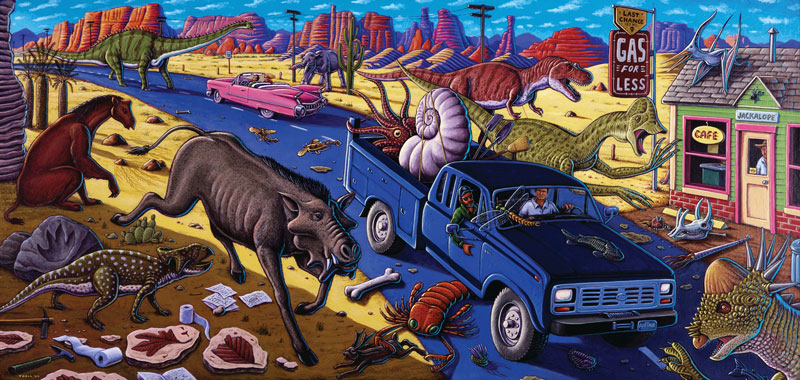 """Cruisin' the Fossil Freeway"" – it's not just the name of the painting, it's also the title of a book that earned Kirk Johnson and Ray Troll this year's AAPG Geosciences in the Media Award."