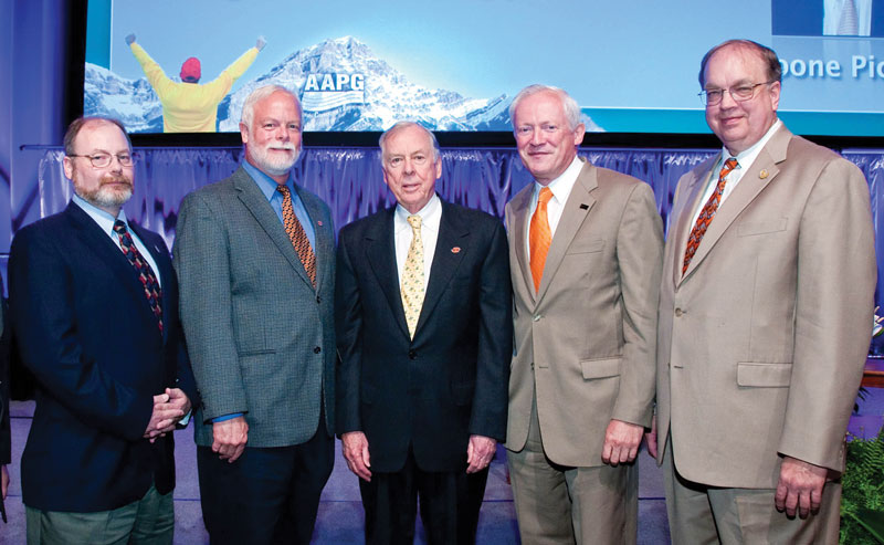 Celebrating the OSU-AAPG consortium: from left, OSU's Michael Larson, Jay Gregg, Boone Pickens, Peter Sherwood and AAPG Executive Director Rick Fritz.
