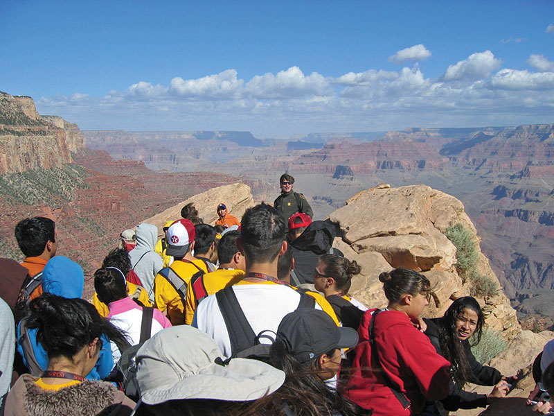 A whole new world: tenth grade GeoFORCE students – comprising honor students from predominantly minority regions of southwest Texas – experience the Grand Canyon. Photos courtesy of GeoFORCE
