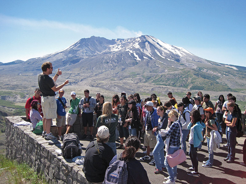 GeoFORCE eleventh graders at Mt. Saint Helens; the AAPG Foundation provides funding for the program, which seeks to increase interest in the geosciences among high school students.