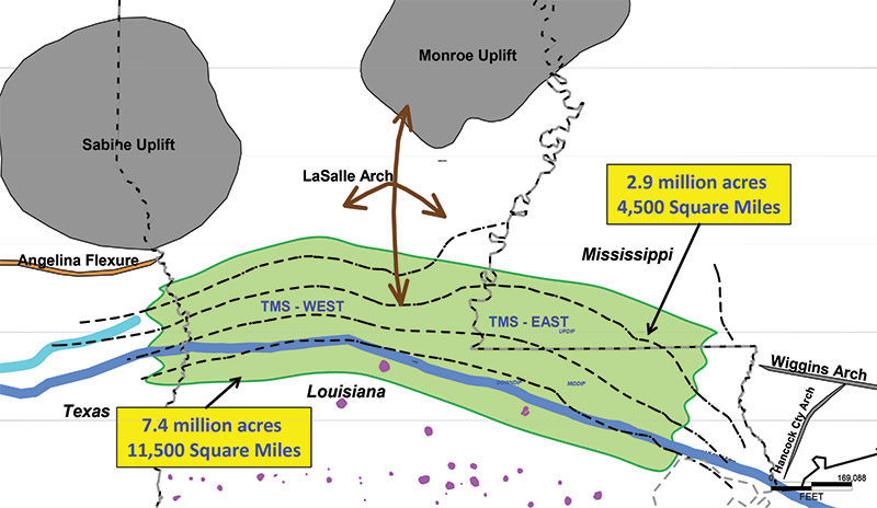 TMS regional geology and potential play boundaries: Tectonic features (gray); Base TMS structure (black dashed lines); TMS high resistivity (blue dashed lines); salt domes (purple); and Lower Cretaceous shelf edge (blue line). Graphics courtesy of Amelia Resources