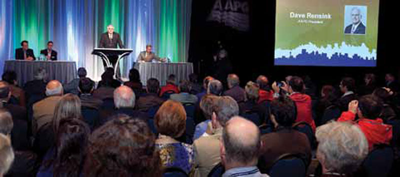President Dave Rensink, speaking at the recent AAPG International Conference and Exhibition in Calgary. About 2,300 people registered. Watch the November EXPLORER for a full report.