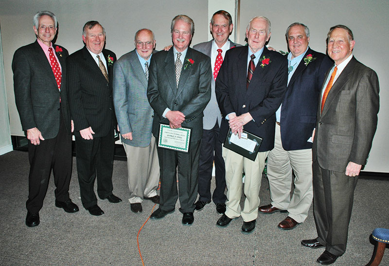 "Honored recently by the Roswell Geological Society were (from left) AAPG President Willard ""Will"" Green, Carl A. Shellinger, Edward K. ""Eddie"" David, George M. Yates, Patrick  J. F. ""Pat"" Gratton, A. T. ""Toby"" Carlton, Phelps Anderson and H. Lee Harvard. Photo by Sam Samford"