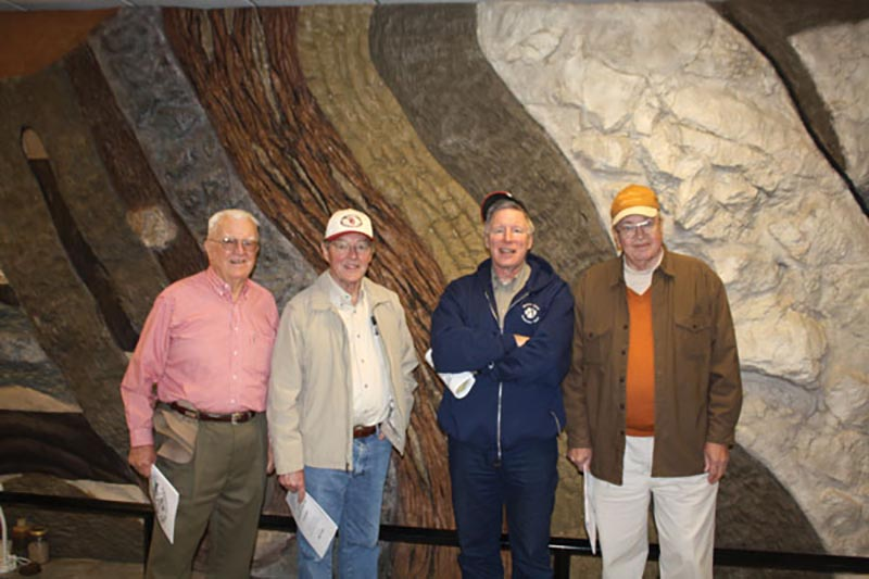 Presidential treatment: Participants in Bob Allen's recent field trip to the Arbuckle Mountains in Oklahoma included some big names in AAPG history; from left, Allen, past president Jim Gibbs, current president John Lorenz and past president Marlan Downey.
