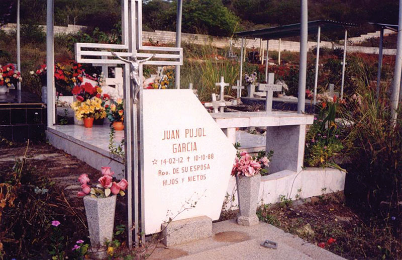 "Rest in peace: Pujol's gravesite in Choroní, Aragua State, Venezuela. Inset, the cover of the book he wrote with Tomás Harris, ""Garbo: The Spy Who Saved D-Day."""