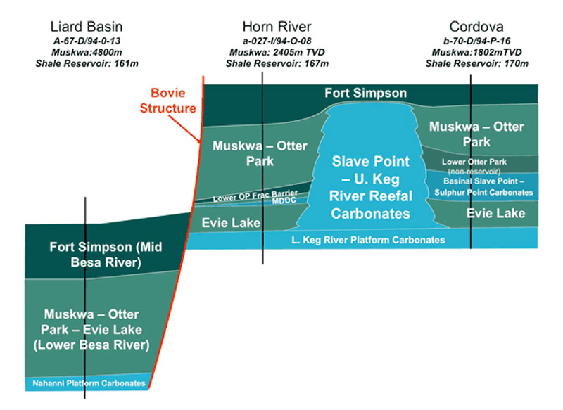 Liard-Horn River-Cordova Basins schematic cross section.