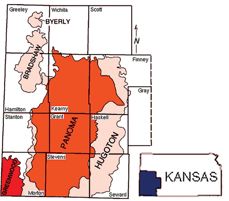 Map of Hugoton and Panoma gas areas, southwest Kansas. Courtesy of Kansas Geological Survey, Public Info Circ. 5.