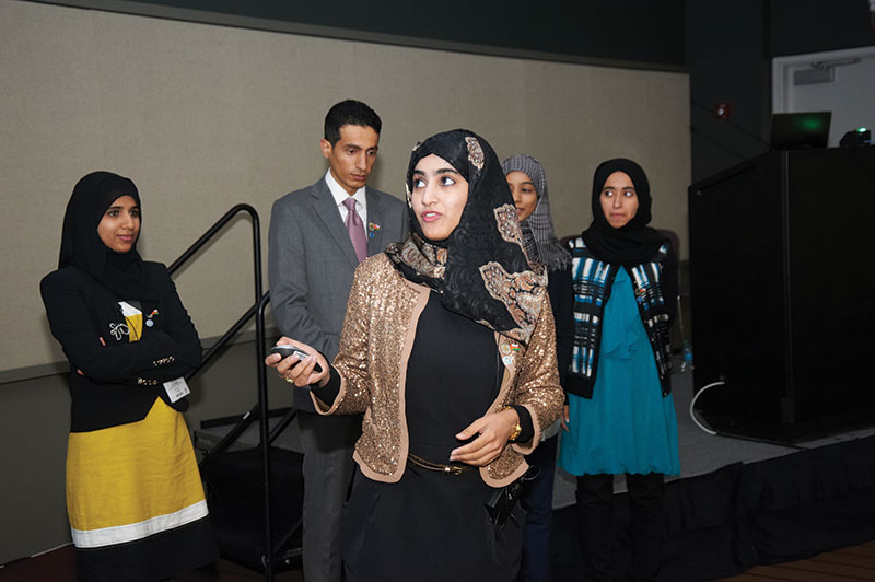 In action: Sultan Qaboos University makes its case at the 2013 finals. (And won the Stoneley Medal.)