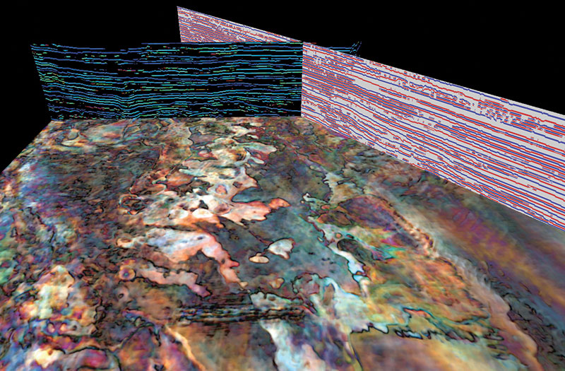 Using colors to provide geoscientists with a new tool for trap and reservoir prediction: RGB frequency blend reveals casrbonate reef geometries. Graphics courtesy of ffA GeoTeric