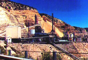 Figure 3. Unocal oil shale facility, Parachute Creek, Colorado.  View of the retort on the mine bench at the level of the Mahogany Ledge of the Green River Formation which was the source of the oil shale processed in the plant.