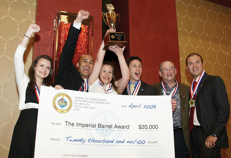 The team from the University of Oklahoma – including faculty adviser Roger Slatt, second from the right – celebrates winning this year's Imperial Barrel Award competition.