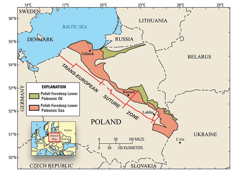 Map showing the assessed areas in the Polish part of the Polish-Ukrainian Foredeep Basin. The area in green represents the Polish Foredeep Lower Paleozoic oil assessment unit; the area in red represents the Polish Foredeep Lower Paleozoic gas assessment unit. Graphic courtesy of U.S. Geological Survey