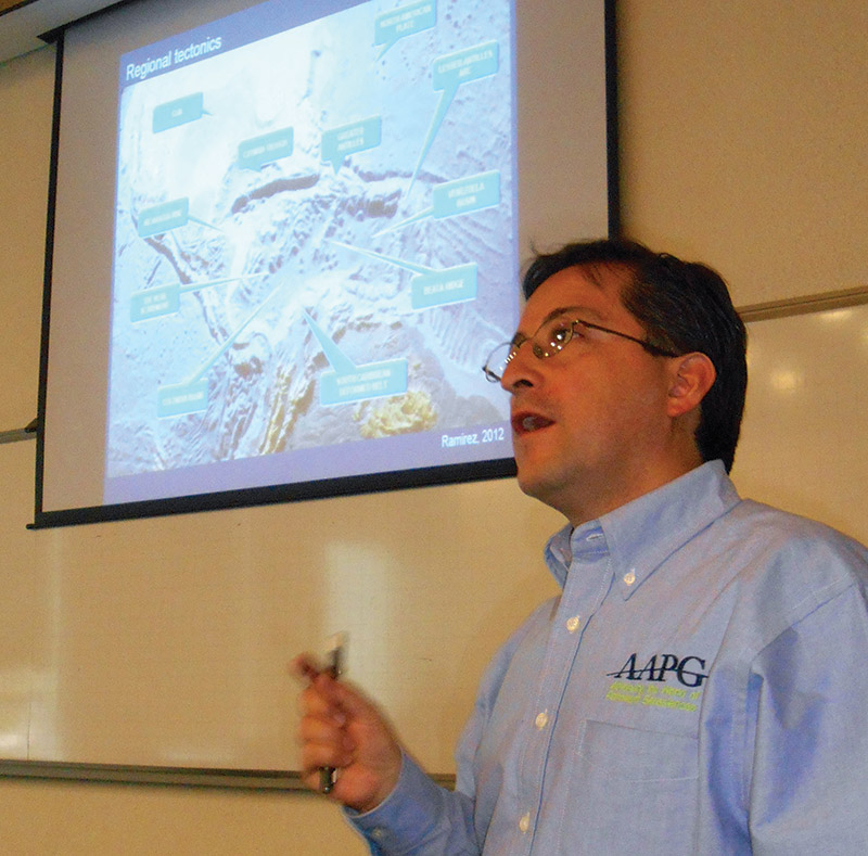 Ramirez discussing offshore exploration with the University of the Andes AAPG Student Chapter in Bogotá.