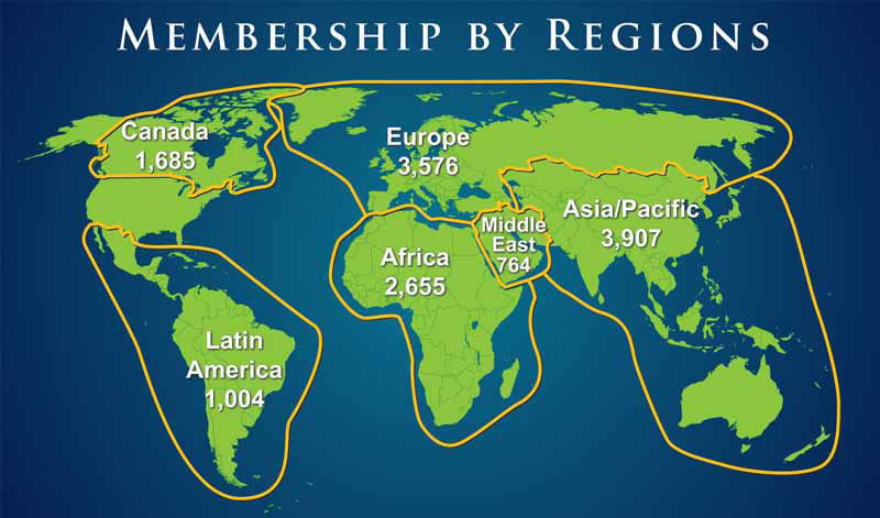There are 13,577 non-U.S. members of AAPG – about 39 percent of the total membership. The top 10 countries with AAPG members (including Student totals) as of Jan. 1 are: Canada – 1,685 members Nigeria – 1,445 England – 993 Egypt – 922 China – 654 Australia – 649 Malaysia – 618 Indonesia – 567 India – 516 Scotland – 409