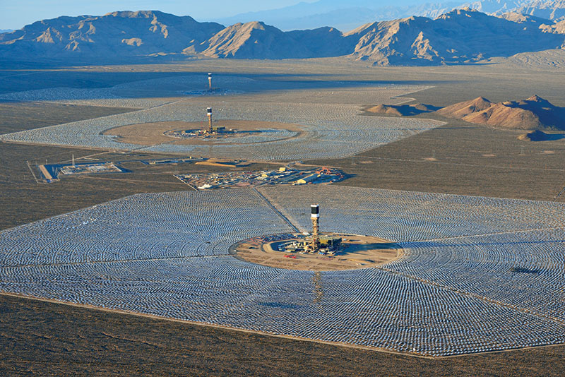 This aerial photograph is of the Ivanpah Solar Electric Generating System in California's Mojave Desert, at the base of Clark Mountain. Photo courtesy of Michael Collier.