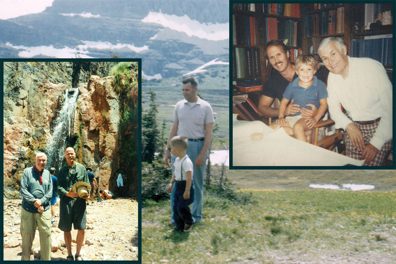 "Leadership begins at home: Steve Sonnenberg with his dad, Frank, at various parts of his ""career"" – including a field trip where they were ""checking the geology"" in the mid-1950s. The late Frank Sonnenberg was a longtime AAPG member."