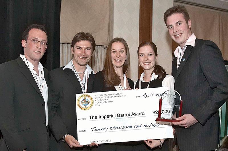 We are the champions: The members of the University of Aberdeen's Imperial Barrel Award team, winners of the top prize in 2007. This year's competition will be held during the AAPG Annual Convention in San Antonio.
