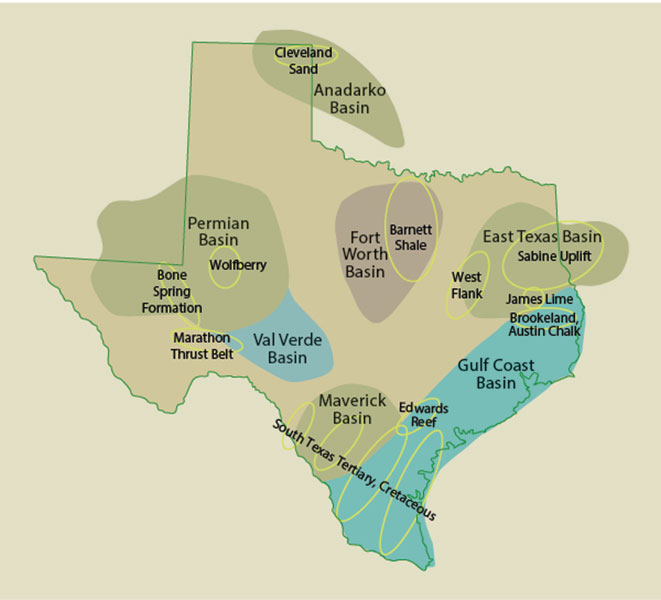 The basins and selected fields that continue to dominate activity in Texas.