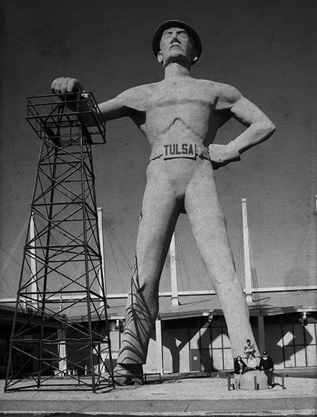 The famous 76-foot-tall Golden Driller, standing in front of Tulsa's IPE building.