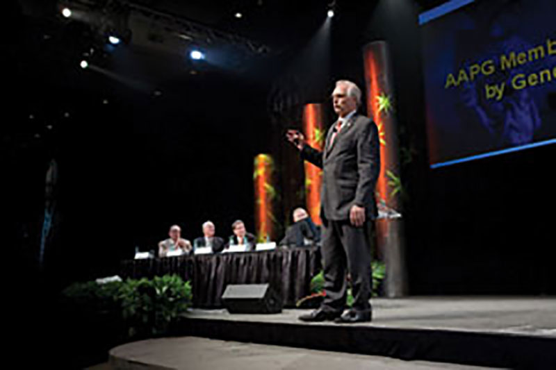 AAPG President David Rensink delivers the address at the opening of this year's Annual Convention and Exhibition in Houston. Unofficial totals indicate more than 8,300 people attended the annual meeting, making it the largest AAPG gathering of the 21st century. A complete report will be included in the June EXPLORER.