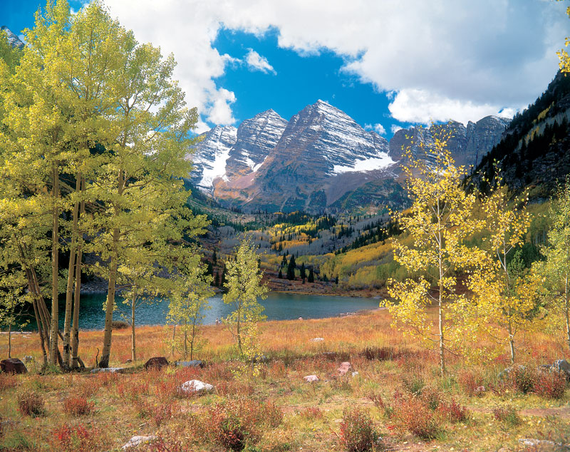 Colorado's famed Maroon Bells, near Aspen – another good reason to head to Denver. Photo courtesy of Ron Ruhoff, Denver Metro Convention and Visitors Bureau