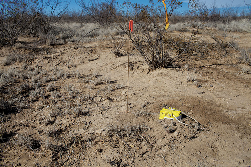Cable-free node deployed near Pecos in the Permian Basin in west Texas. Photos courtesy of FairfieldNodal