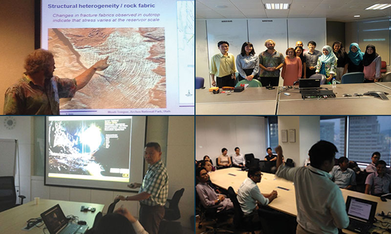 "Top: Lansing Taylor giving a talk on Structural Geology to YP's. Bottom: Speaker, Kim Kiat ""KK"" Liaw giving talk on Mulu caves field trip to participants."